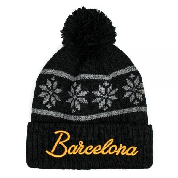 Barcelona Black Snowflake Beanie